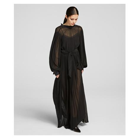 Šaty Karl Lagerfeld Pleated Maxi Shirt Dress - Černá