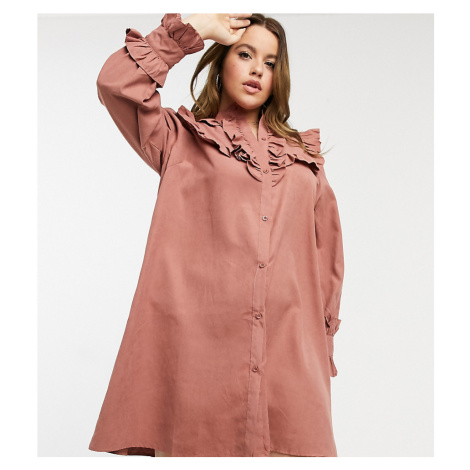 Lola May Curve smock dress with volume sleeves-Pink