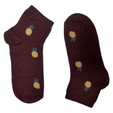 Turgadesign Bordové kotníkové dámské ponožky Ananas