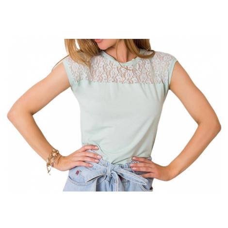 Mintové dámske tričko s krajkou Rue Paris