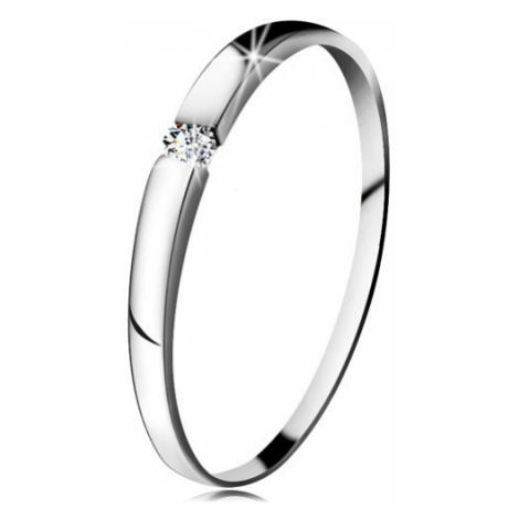 Zásnubní prsten z bílého 14K zlata - zirkon čiré barvy, jemně vypouklá ramena Šperky eshop