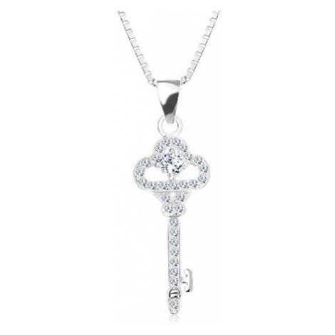 Stříbrný 925 náhrdelník, řetízek s přívěskem, blýskavý klíček, zirkony Šperky eshop