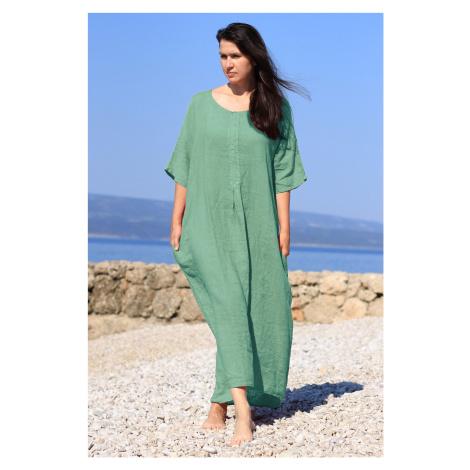 Dámské letní lněné maxi šaty
