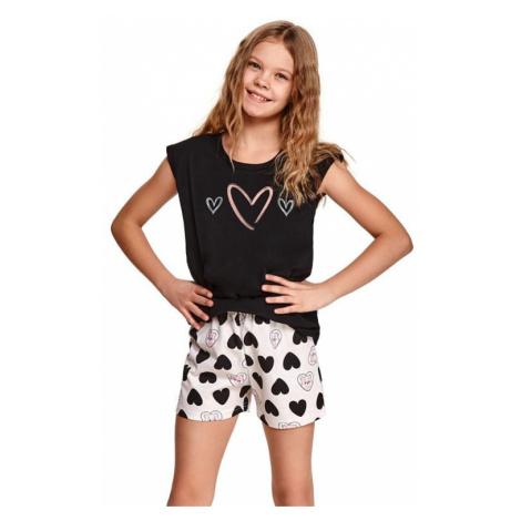 Dívčí pyžamo Eva černé se srdíčky Taro