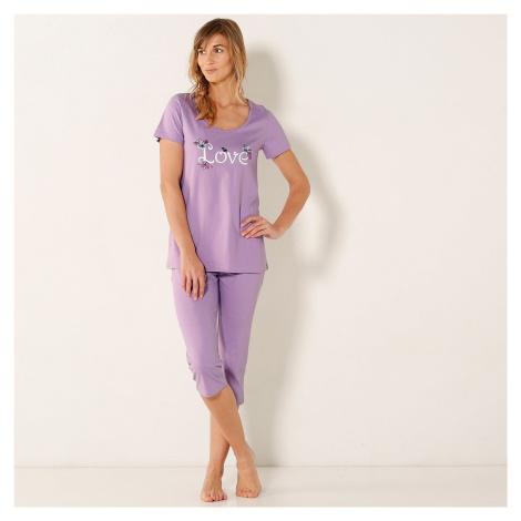 Blancheporte Pyžamo se 3/4 kalhotami a potiskem love, bavlna lila