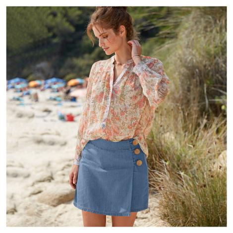 Blancheporte Sukňové šortky z denimu sepraná modrá