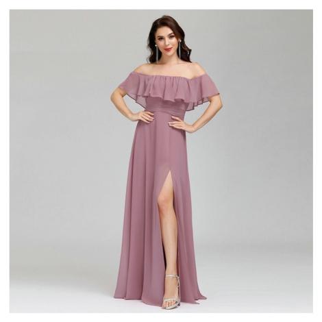 Společenské volánkové šaty maxi svatební a plesové šaty s rozparkem