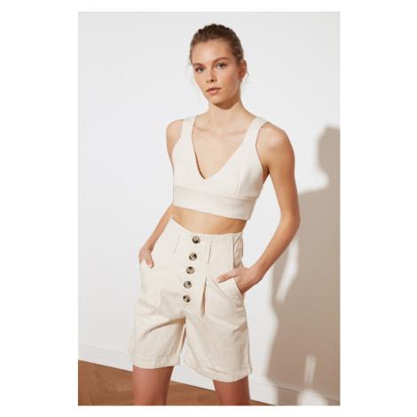 Trendyol Ecru Front Button Denim Shorts