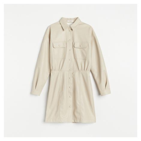 Reserved - Koženkové košilové šaty - Béžová