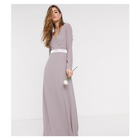 TFNC Tall Bridesmaids long sleeve bow back maxi dress dress in grey