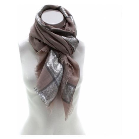 Hnědý dámský módní šátek se stříbrným pruhem Vedette Jordan (PL)