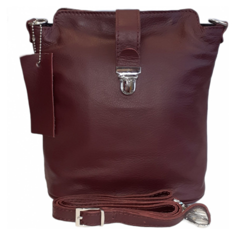 Facebag kožená crossbody s kovovým zapínáním bordová 6017/152