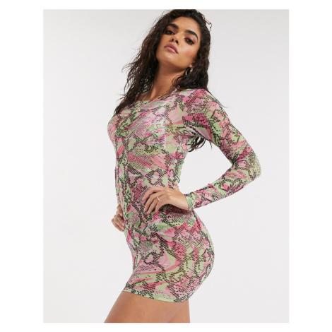 ASOS DESIGN jersey mesh bodycon beach dress in marble snake print-Multi