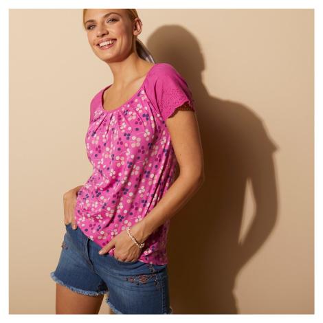 Blancheporte Tričko s anglickou výšivkou a puntíky indická růžová