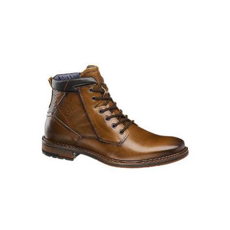 Hnědá kožená kotníková obuv se zipem AM Shoe