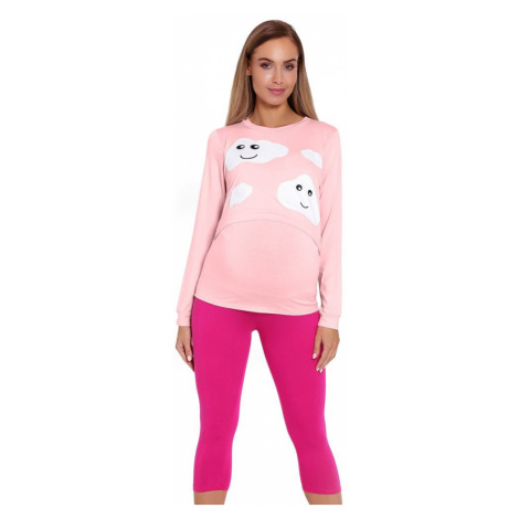 PeeKaBoo Kojicí a těhotenské pyžamo Melany růžové s obláčky
