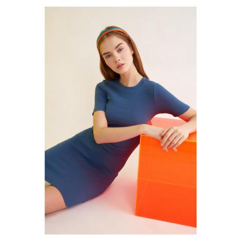 Trendyol Indigo Mini Knitted Dress
