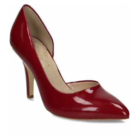 Červené dámské lodičky s koženou stélkou na vysokém podpatku Baťa