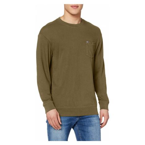 Tommy Jeans pánské khaki tričko s dlouhým rukávem Tommy Hilfiger