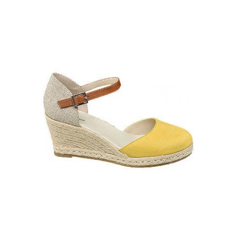 Béžovo-žluté sandály na klínku Graceland