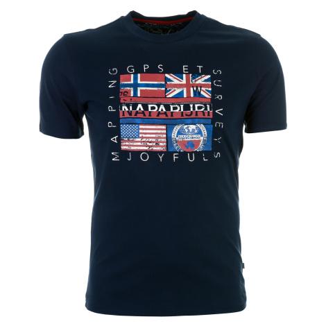 Pánské tmavě modré tričko Napapijri s vlajkovým potiskem