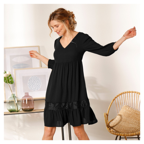 Blancheporte Jednobarevné šaty se šněrováním vzadu černá