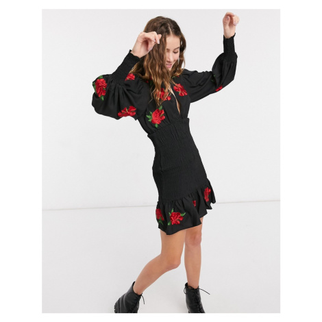 ASOS DESIGN shirred mini dress with all over rose embroidery in black