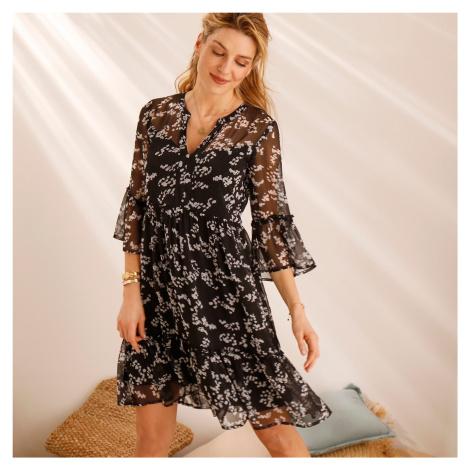 Blancheporte Volánové šaty s potiskem černá/bílá