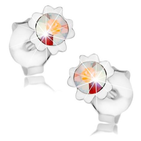 Náušnice, stříbro 925, duhový krystal Swarovski, květ, dvojice lupínků Šperky eshop