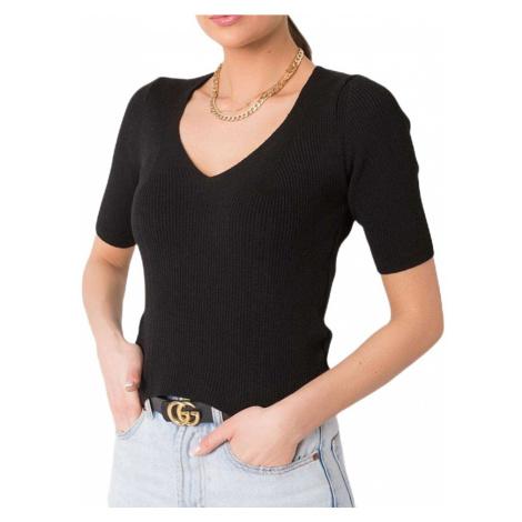 černé žebrované dámské tričko Rue Paris