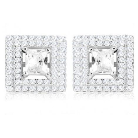 Stříbrné náušnice 925, čtvercový broušený zirkon, dvojitý zirkonový lem Šperky eshop