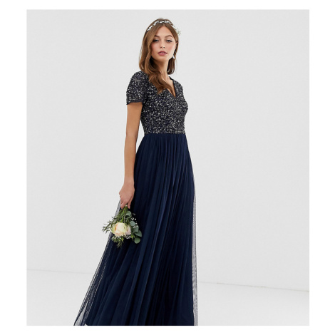 Maya Bridesmaid V Neck Maxi Tulle Dress with Tonal Delicate Sequins-Navy