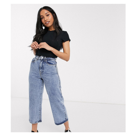 Vero Moda Petite cropped jeans with wide leg in blue acid wash