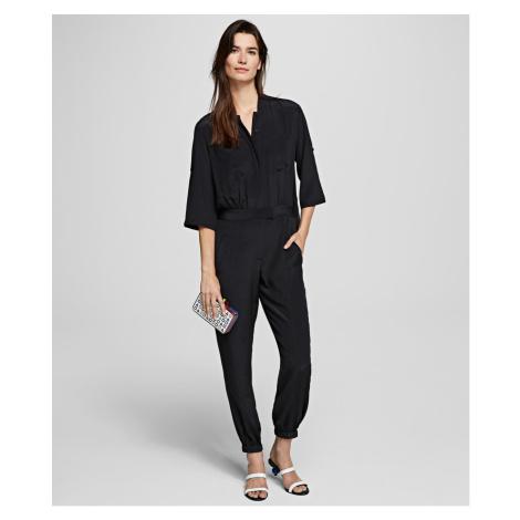 Šaty Karl Lagerfeld Silk Jumpsuit W/ Pleated Back - Černá