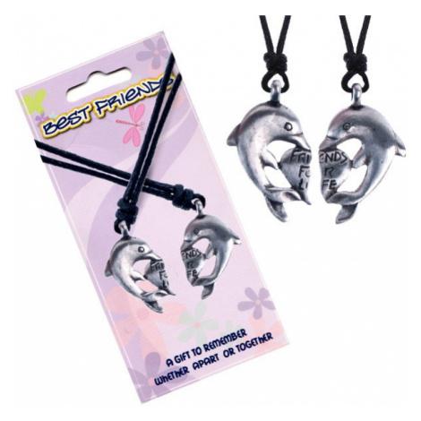 Šňůrkové náhrdelníky, přívěsky BEST FRIENDS, srdíčko a delfíni Šperky eshop