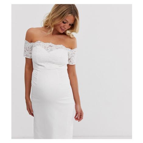 Chi Chi London Maternity crochet lace midi dress with bardot sleeve in white