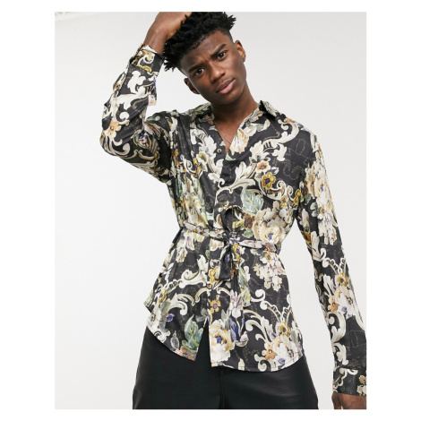 ASOS DESIGN floral belted wrap kimono shirt in gold floral