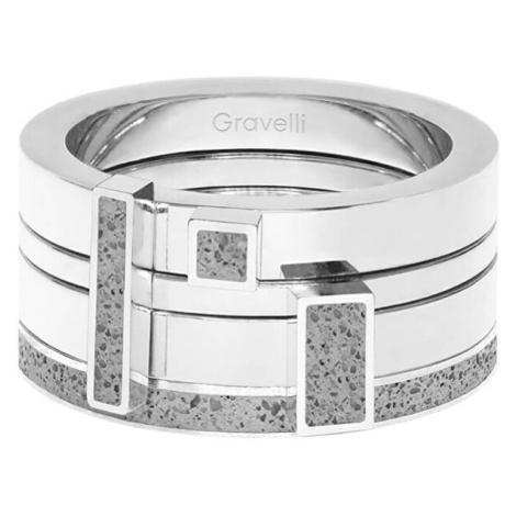 Gravelli Sada čtyř prstenů s betonem Quadrium ocelová/šedá GJRWSSG124