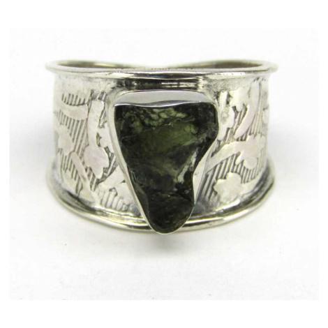 AutorskeSperky.com - Stříbrný prsten s vltavínem - S5371