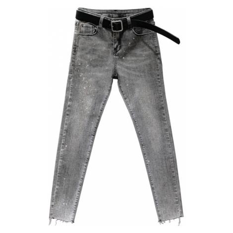 Dámské džíny s kamínky šedé FashionEU