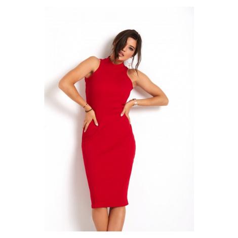 Dámské tužkové midi šaty v červené barvě 273 IVON