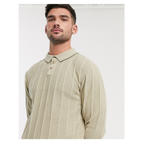 River Island knitted half zip polo in stone-Neutral