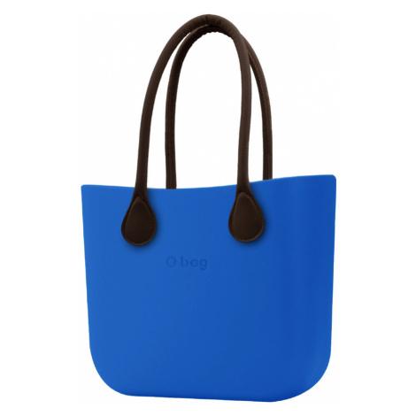 O bag kabelka Imperial Blue s hnědými dlouhými koženkovými držadly