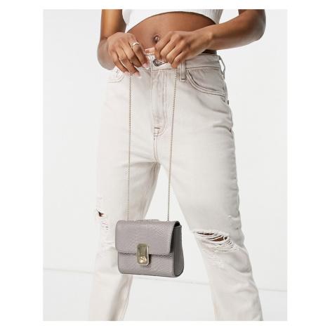Paul Costelloe leather cross body bag with chain strap in beige lizard-Neutral