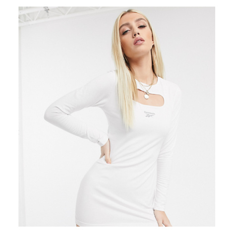 Reebok cut out mini dress in white with reflective Vector exclusive to ASOS-Purple