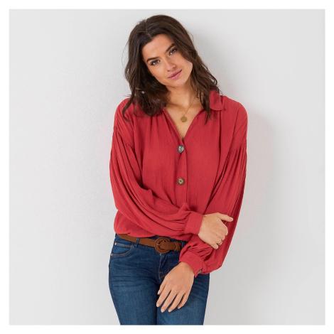 Blancheporte Košilová halenka na knoflíčky, jednobarevná červená