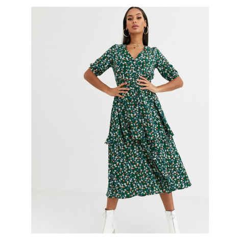 Missguided tiered midi dress in green floral