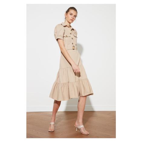 Trendyol Camel Belt Button Detail Dress