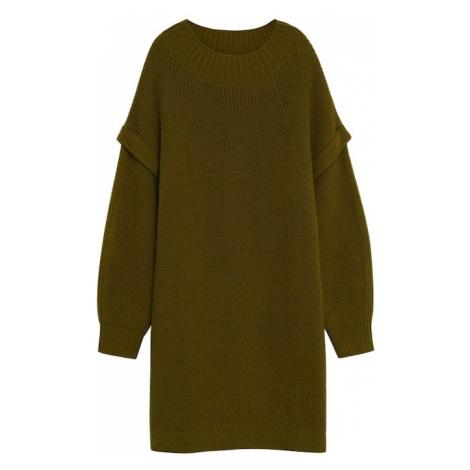 MANGO Úpletové šaty 'Regy' olivová