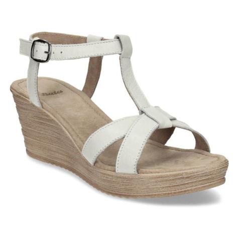 Šedé kožené dámské sandály na klínku Baťa